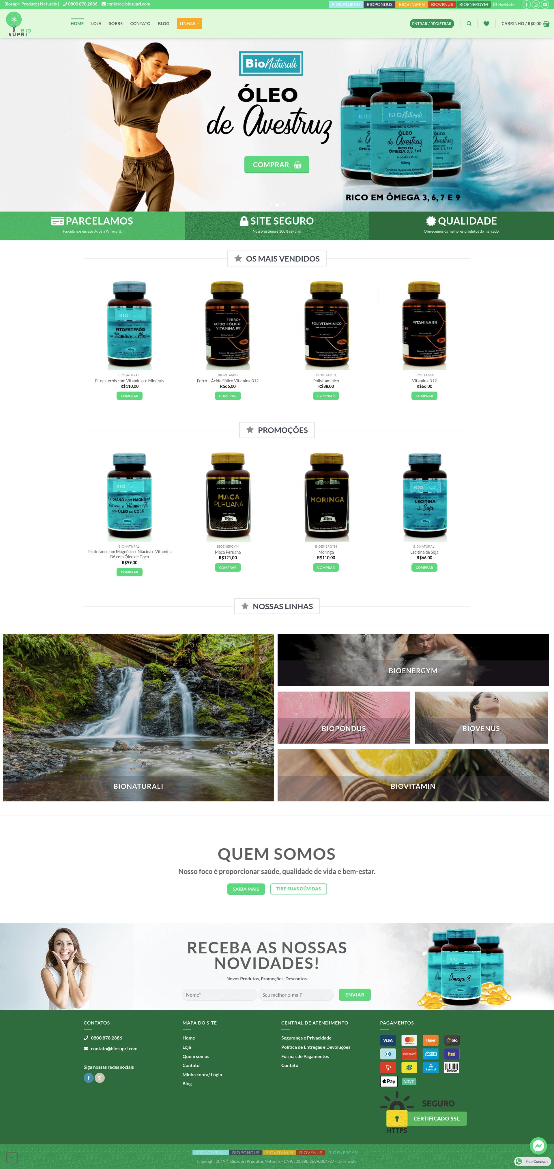 BioSupri Produtos Naturais E-commerce Óleo de Avestruz