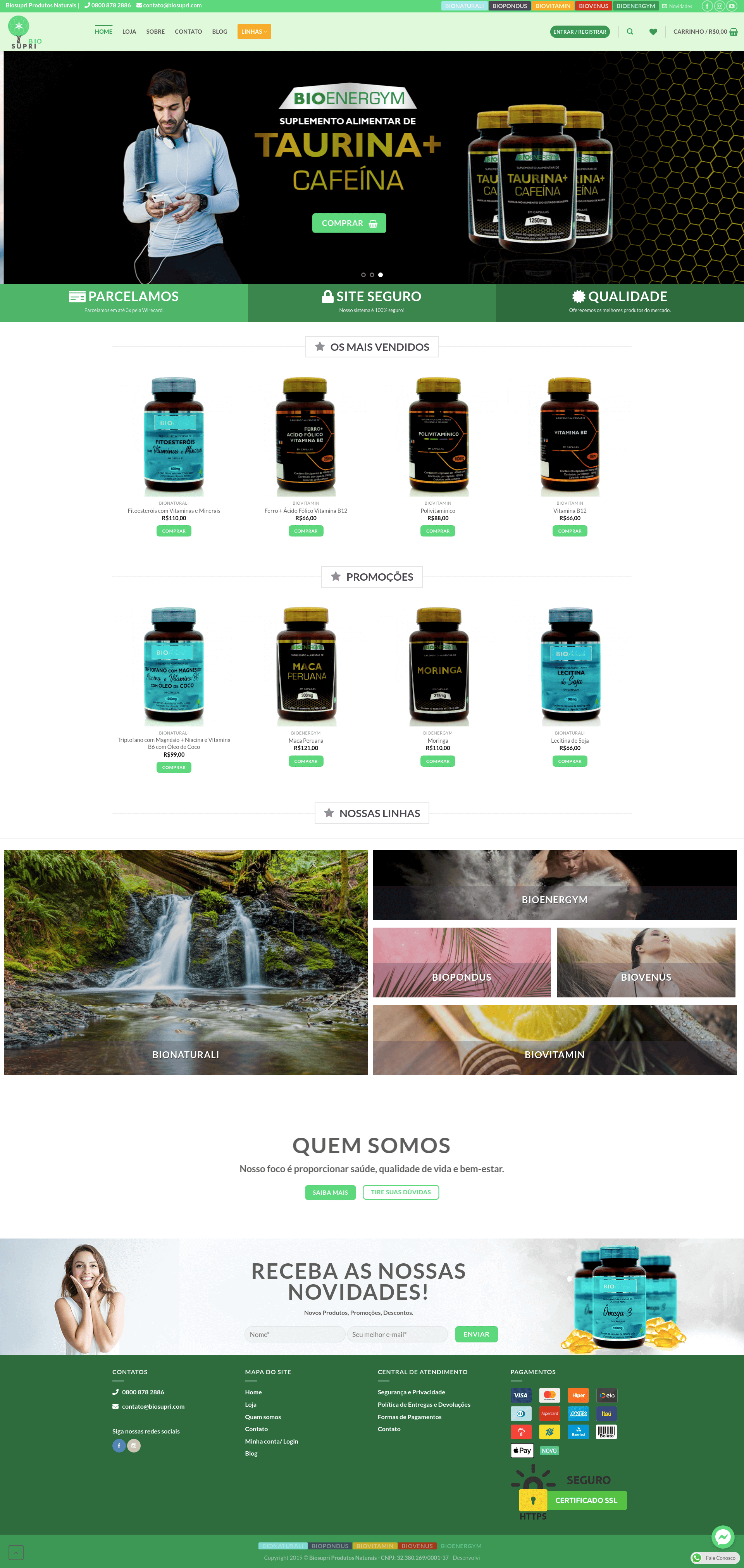 BioSupri Produtos Naturais E-commerce Taurina Cafeína