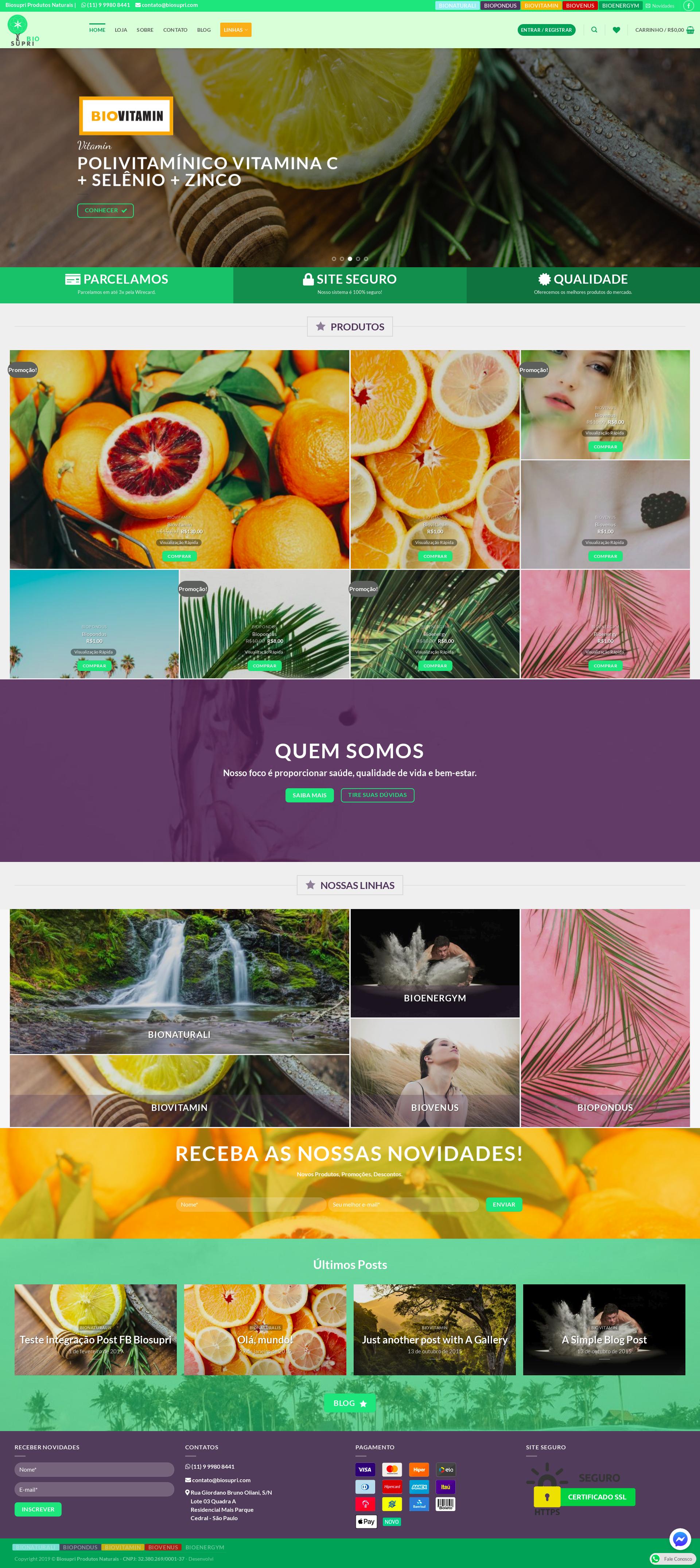 Desenvolvi Desenvolvimento Web BioSupri Produtos Naturais E-commerce